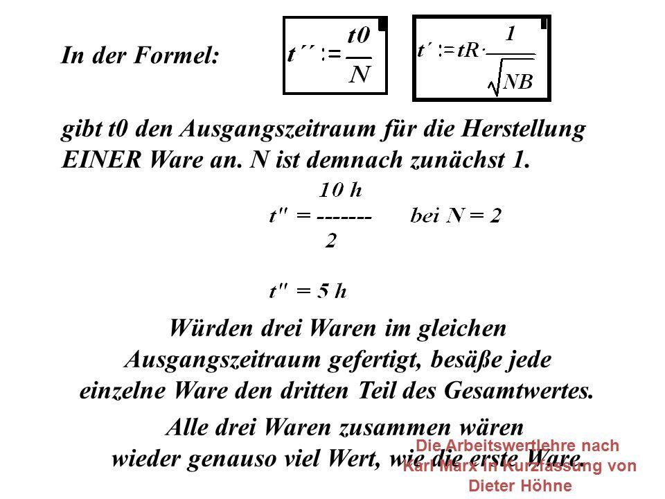 In der Formel: gibt t0 den Ausgangszeitraum für die Herstellung EINER Ware an. N ist demnach zunächst 1. Würden drei Waren im gleichen Ausgangszeitrau