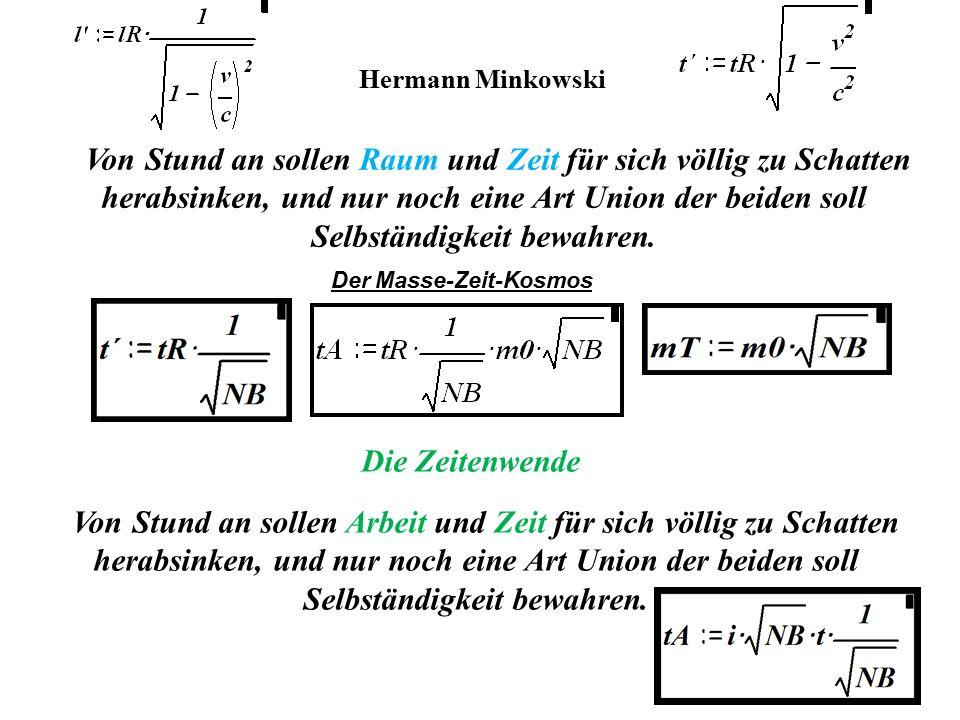 Hermann Minkowski Von Stund an sollen Raum und Zeit für sich völlig zu Schatten herabsinken, und nur noch eine Art Union der beiden soll Selbständigke