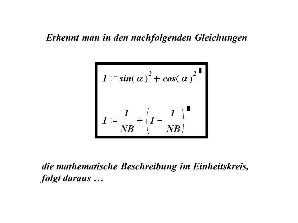 Erkennt man in den nachfolgenden Gleichungen die mathematische Beschreibung im Einheitskreis, folgt daraus …