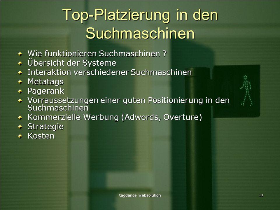 tagdance websolution 11 Top-Platzierung in den Suchmaschinen Wie funktionieren Suchmaschinen .