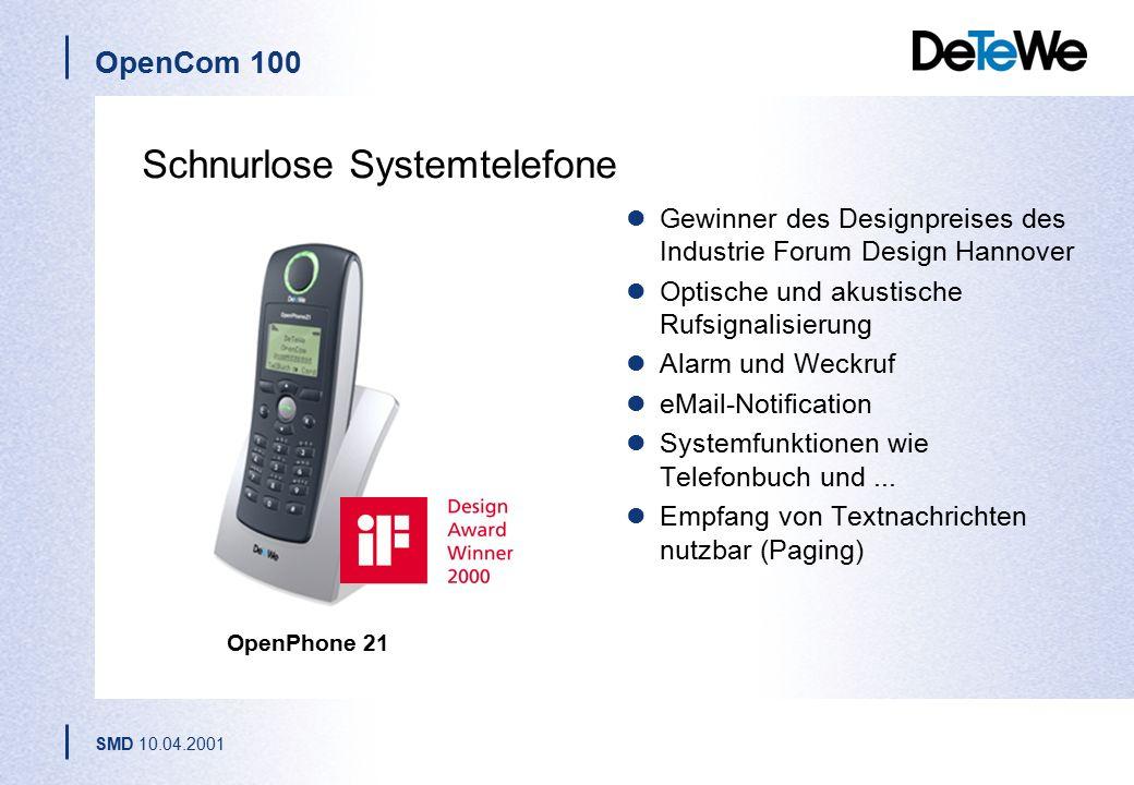 OpenCom 100 SMD 10.04.2001 DECT-Basisstation RFP 21 Sprach- und Datenübertragung Full-Slot-Technologie (unterstützt alle 24 Zeitschlitze) Anschuss mit