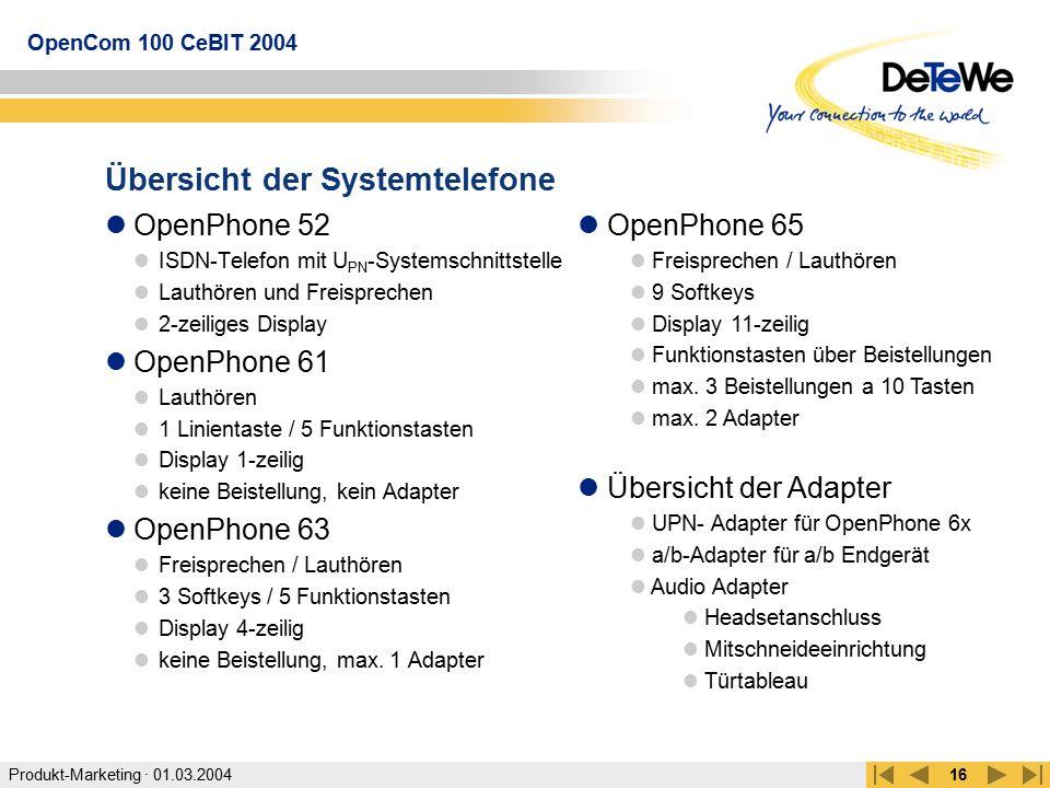 Produkt-Marketing · 01.03.2004 OpenCom 100 CeBIT 2004 16 Übersicht der Systemtelefone OpenPhone 52 ISDN-Telefon mit U PN -Systemschnittstelle Lauthöre