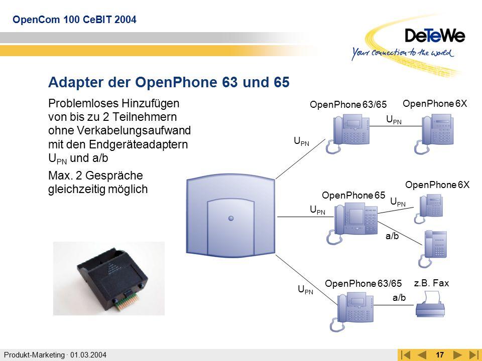 Produkt-Marketing · 01.03.2004 OpenCom 100 CeBIT 2004 17 Adapter der OpenPhone 63 und 65 Problemloses Hinzufügen von bis zu 2 Teilnehmern ohne Verkabe