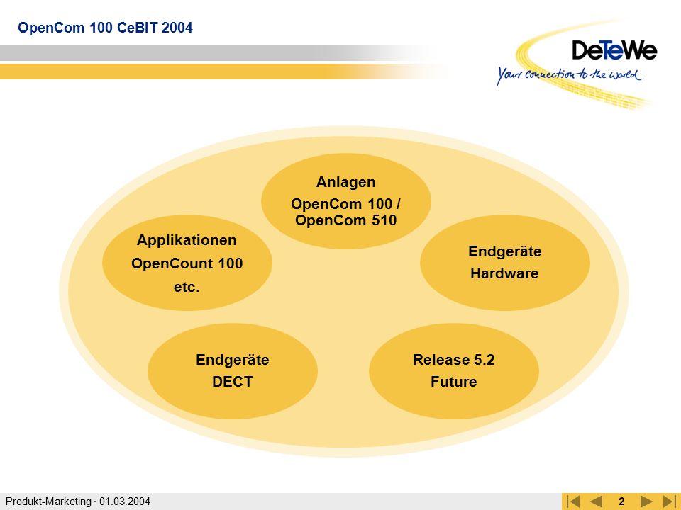 Produkt-Marketing · 01.03.2004 OpenCom 100 CeBIT 2004 2 Applikationen OpenCount 100 etc. Endgeräte Hardware Anlagen OpenCom 100 / OpenCom 510 Endgerät