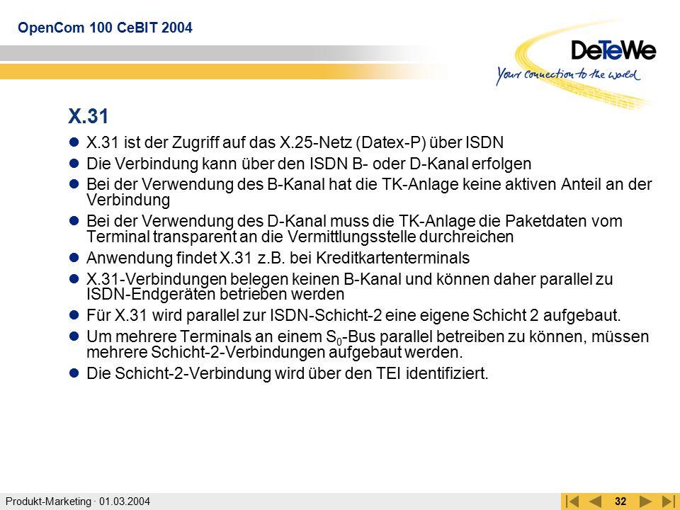 Produkt-Marketing · 01.03.2004 OpenCom 100 CeBIT 2004 32 X.31 X.31 ist der Zugriff auf das X.25-Netz (Datex-P) über ISDN Die Verbindung kann über den