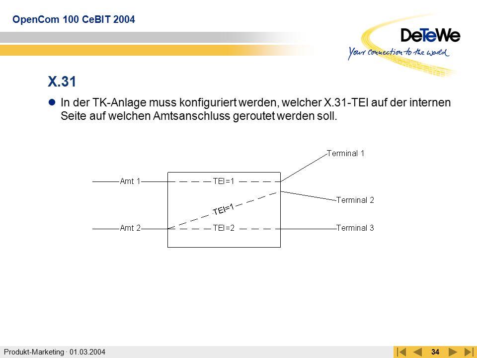Produkt-Marketing · 01.03.2004 OpenCom 100 CeBIT 2004 34 X.31 In der TK-Anlage muss konfiguriert werden, welcher X.31-TEI auf der internen Seite auf w