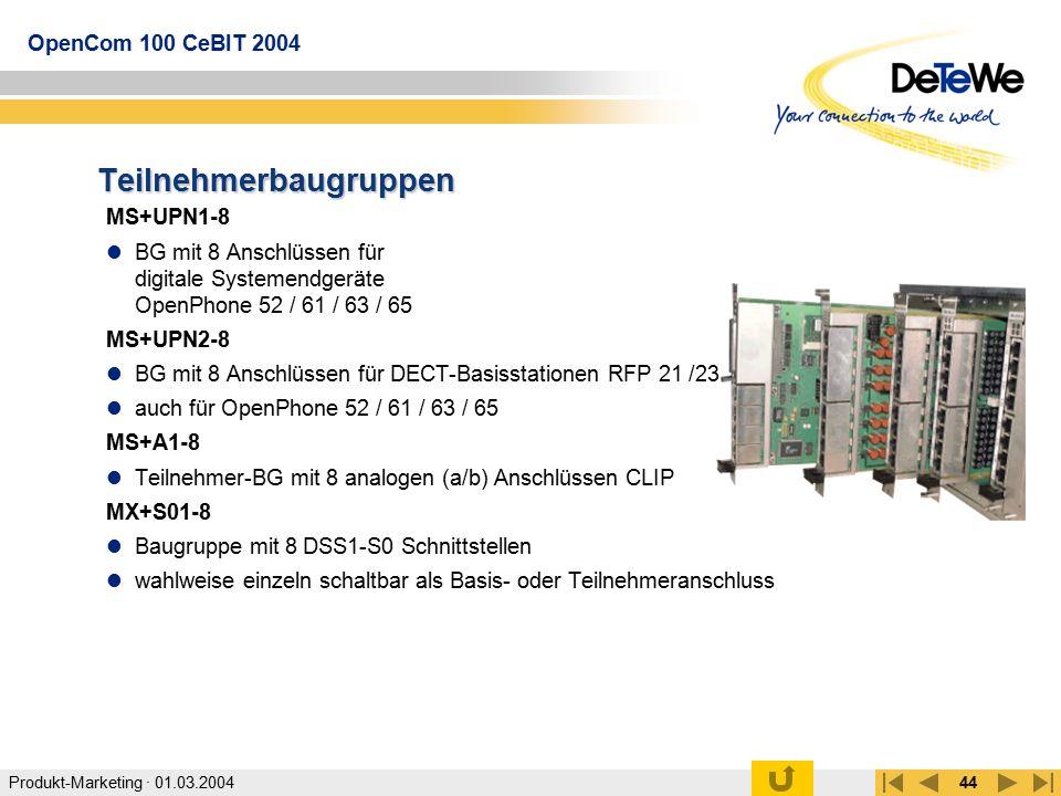 Produkt-Marketing · 01.03.2004 OpenCom 100 CeBIT 2004 44 Teilnehmerbaugruppen MS+UPN1-8 BG mit 8 Anschlüssen für digitale Systemendgeräte OpenPhone 52