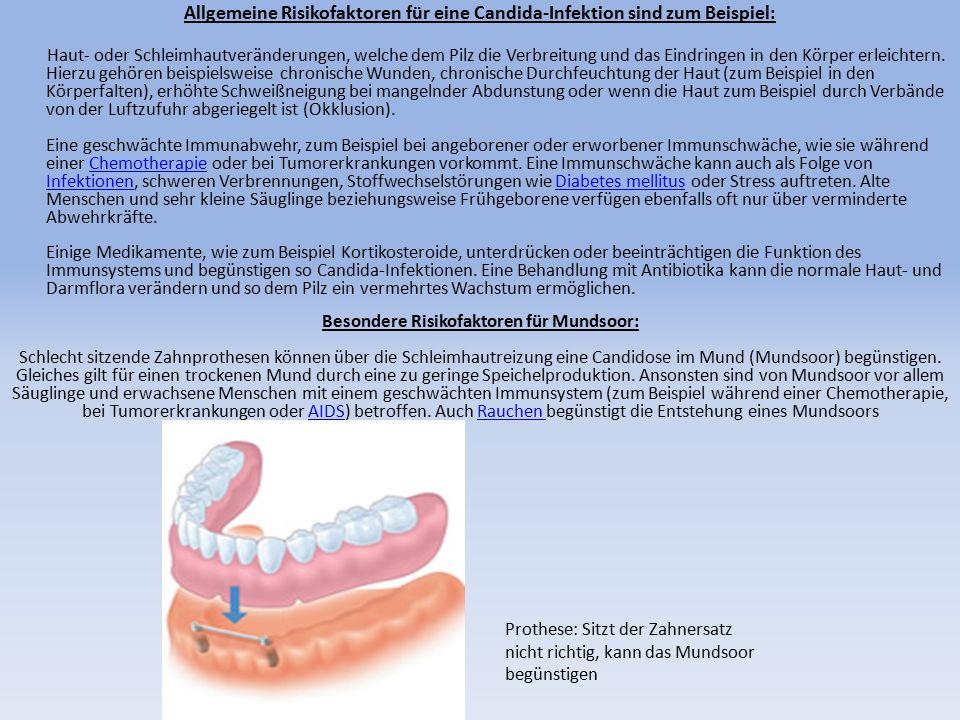 Allgemeine Risikofaktoren für eine Candida-Infektion sind zum Beispiel: Haut- oder Schleimhautveränderungen, welche dem Pilz die Verbreitung und das E