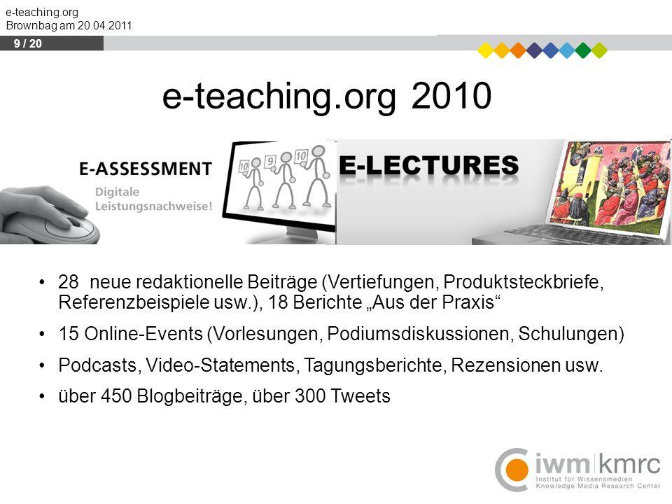 e-teaching.org Brownbag am 20.04.2011 e-teaching.org 2010 28 neue redaktionelle Beiträge (Vertiefungen, Produktsteckbriefe, Referenzbeispiele usw.), 1