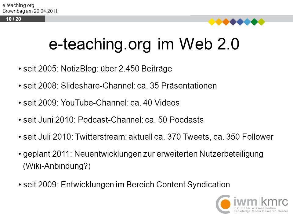 e-teaching.org Brownbag am 20.04.2011 seit 2005: NotizBlog: über 2.450 Beiträge seit 2008: Slideshare-Channel: ca. 35 Präsentationen seit 2009: YouTub