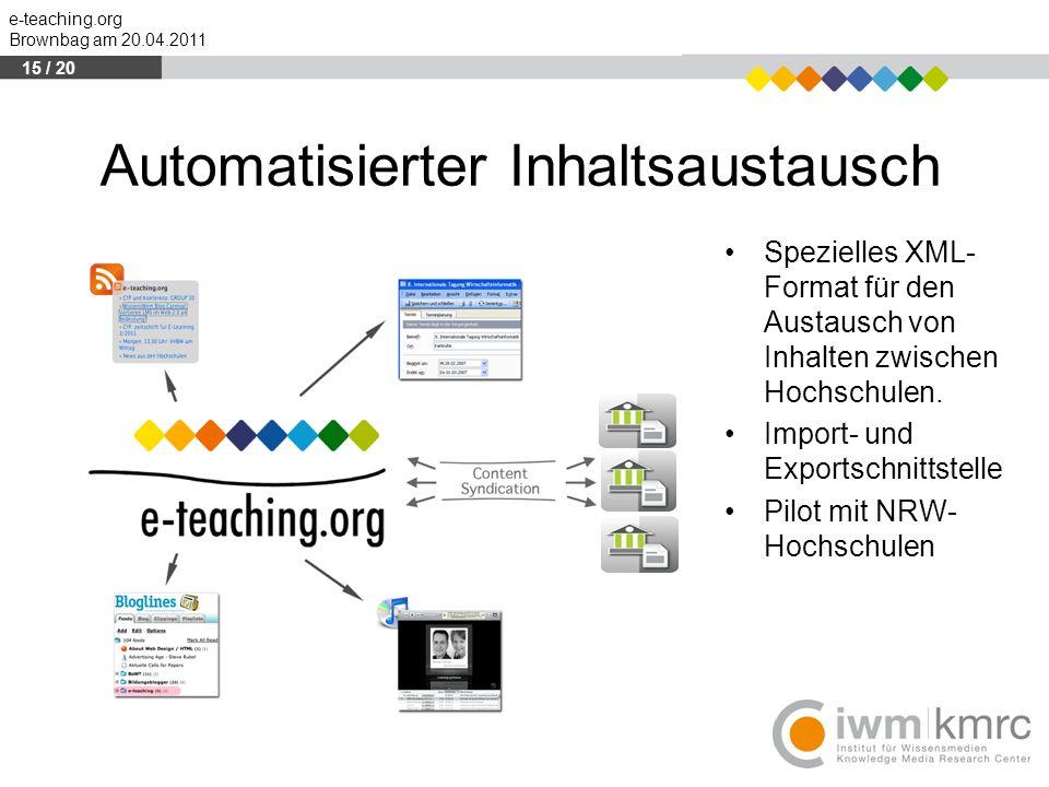 e-teaching.org Brownbag am 20.04.2011 Automatisierter Inhaltsaustausch Spezielles XML- Format für den Austausch von Inhalten zwischen Hochschulen. Imp