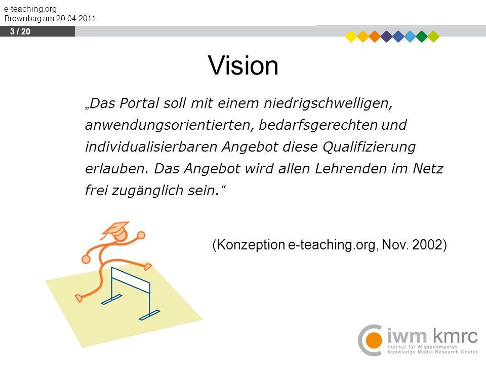 """e-teaching.org Brownbag am 20.04.2011 """" Das Portal soll mit einem niedrigschwelligen, anwendungsorientierten, bedarfsgerechten und individualisierbare"""