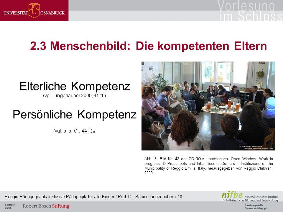 Reggio-Pädagogik als inklusive Pädagogik für alle Kinder / Prof. Dr. Sabine Lingenauber / 10 2.3 Menschenbild: Die kompetenten Eltern Elterliche Kompe