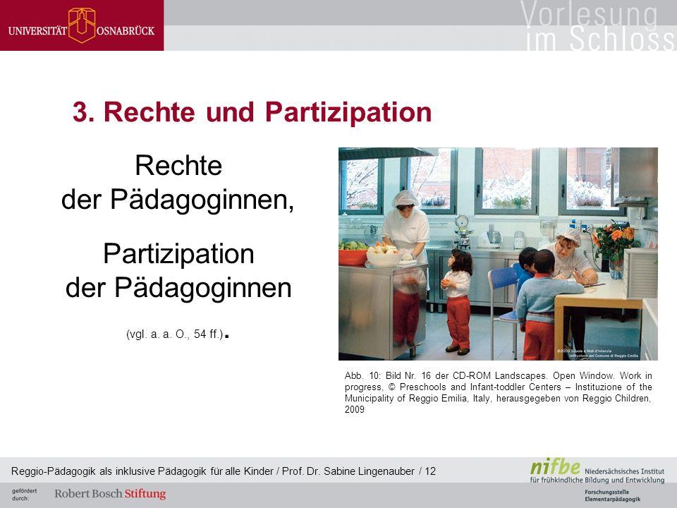 Reggio-Pädagogik als inklusive Pädagogik für alle Kinder / Prof. Dr. Sabine Lingenauber / 12 3. Rechte und Partizipation Rechte der Pädagoginnen, Part