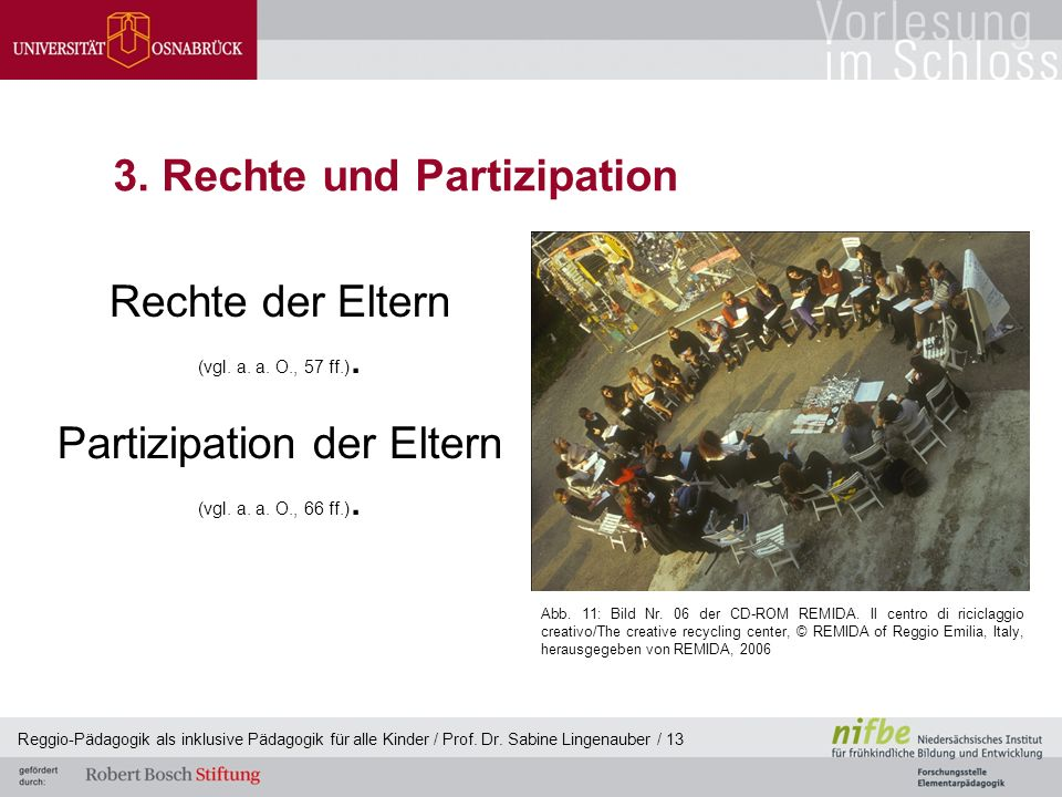 Reggio-Pädagogik als inklusive Pädagogik für alle Kinder / Prof. Dr. Sabine Lingenauber / 13 3. Rechte und Partizipation Rechte der Eltern (vgl. a. a.