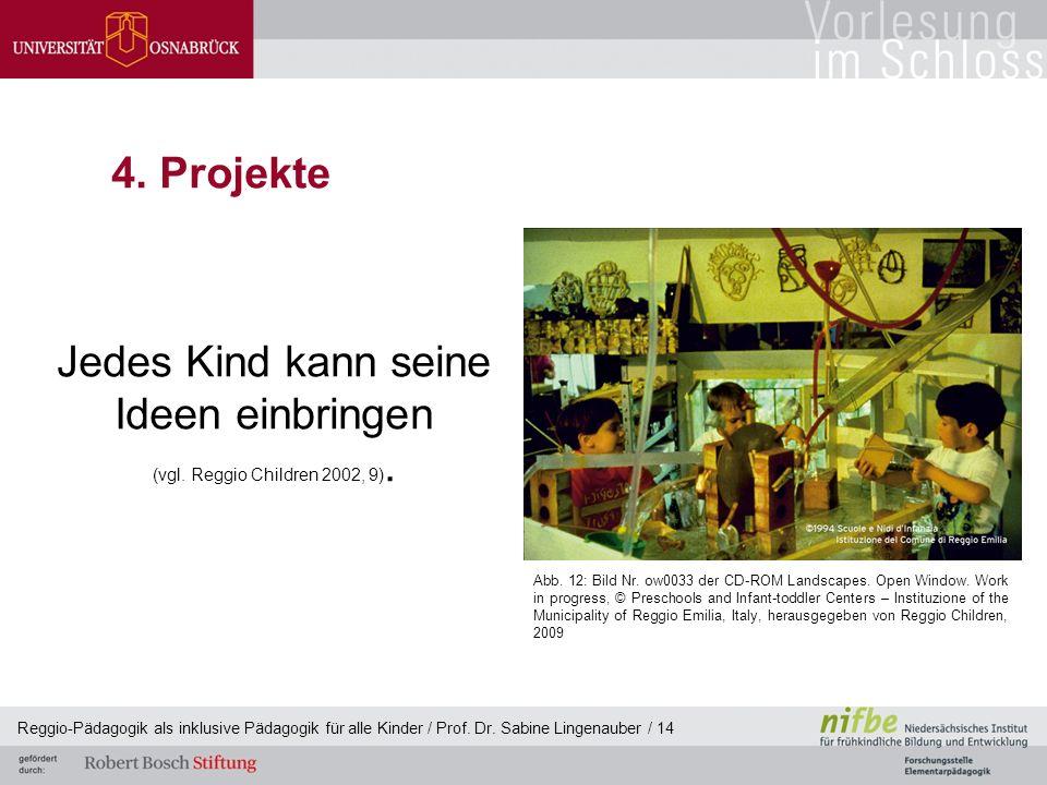 Reggio-Pädagogik als inklusive Pädagogik für alle Kinder / Prof. Dr. Sabine Lingenauber / 14 4. Projekte Jedes Kind kann seine Ideen einbringen (vgl.