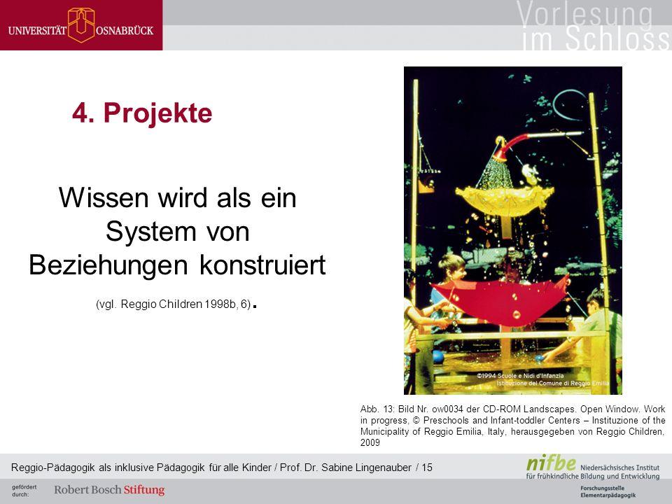 Reggio-Pädagogik als inklusive Pädagogik für alle Kinder / Prof. Dr. Sabine Lingenauber / 15 4. Projekte Wissen wird als ein System von Beziehungen ko