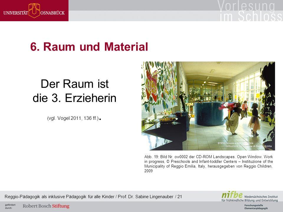 Reggio-Pädagogik als inklusive Pädagogik für alle Kinder / Prof. Dr. Sabine Lingenauber / 21 6. Raum und Material Der Raum ist die 3. Erzieherin (vgl.
