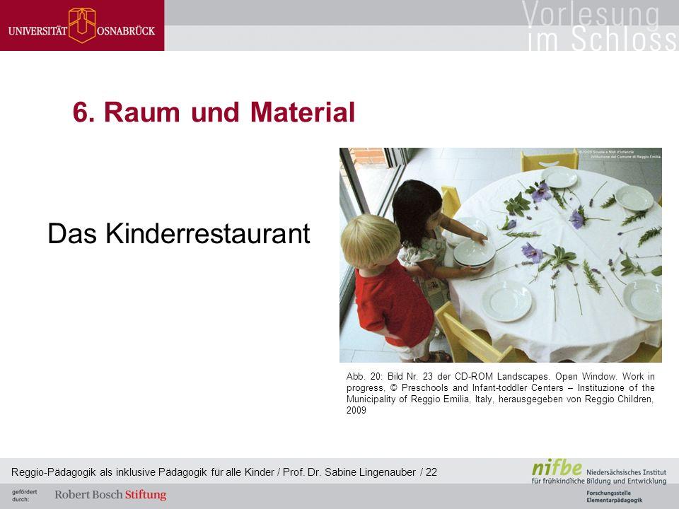 Reggio-Pädagogik als inklusive Pädagogik für alle Kinder / Prof. Dr. Sabine Lingenauber / 22 6. Raum und Material Das Kinderrestaurant Abb. 20: Bild N