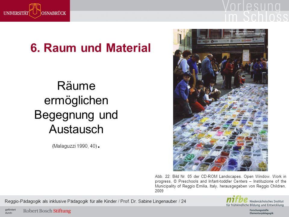 Reggio-Pädagogik als inklusive Pädagogik für alle Kinder / Prof. Dr. Sabine Lingenauber / 24 6. Raum und Material Räume ermöglichen Begegnung und Aust