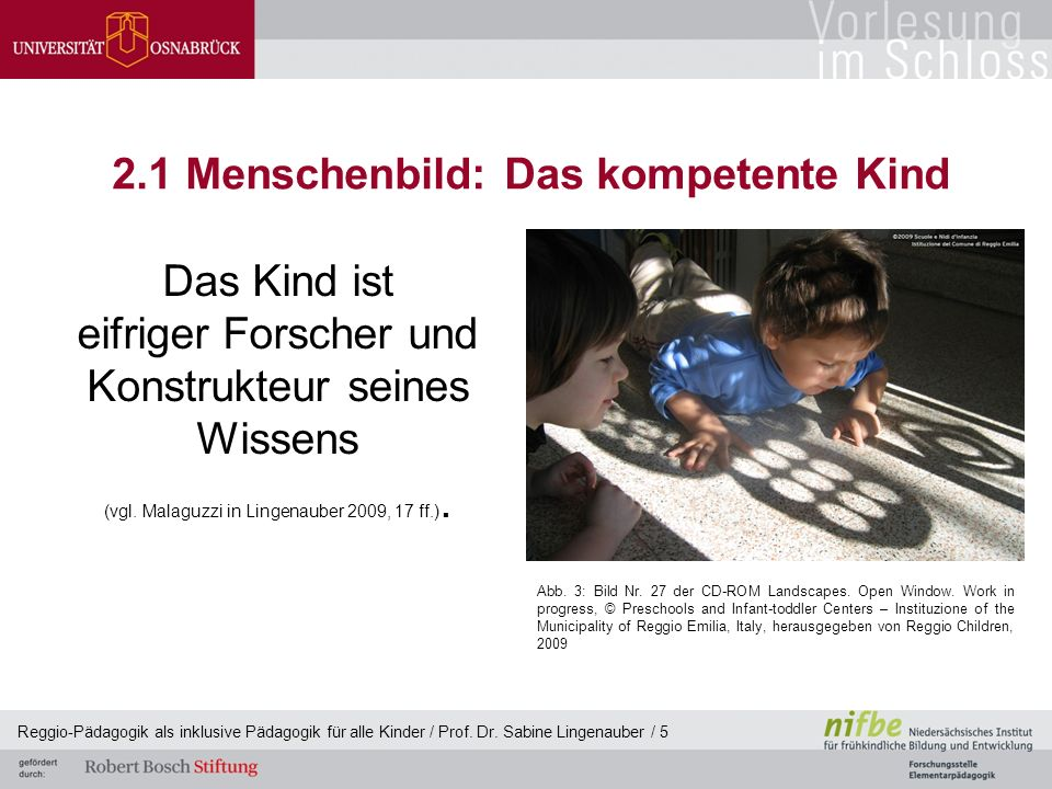 Reggio-Pädagogik als inklusive Pädagogik für alle Kinder / Prof. Dr. Sabine Lingenauber / 5 2.1 Menschenbild: Das kompetente Kind Das Kind ist eifrige