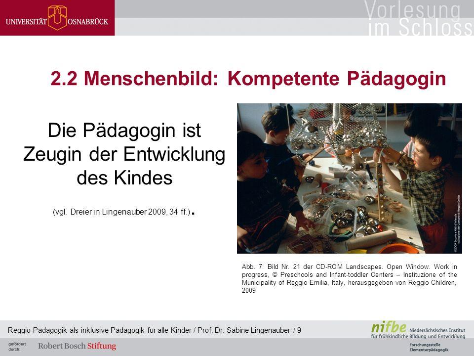Reggio-Pädagogik als inklusive Pädagogik für alle Kinder / Prof. Dr. Sabine Lingenauber / 9 2.2 Menschenbild: Kompetente Pädagogin Die Pädagogin ist Z
