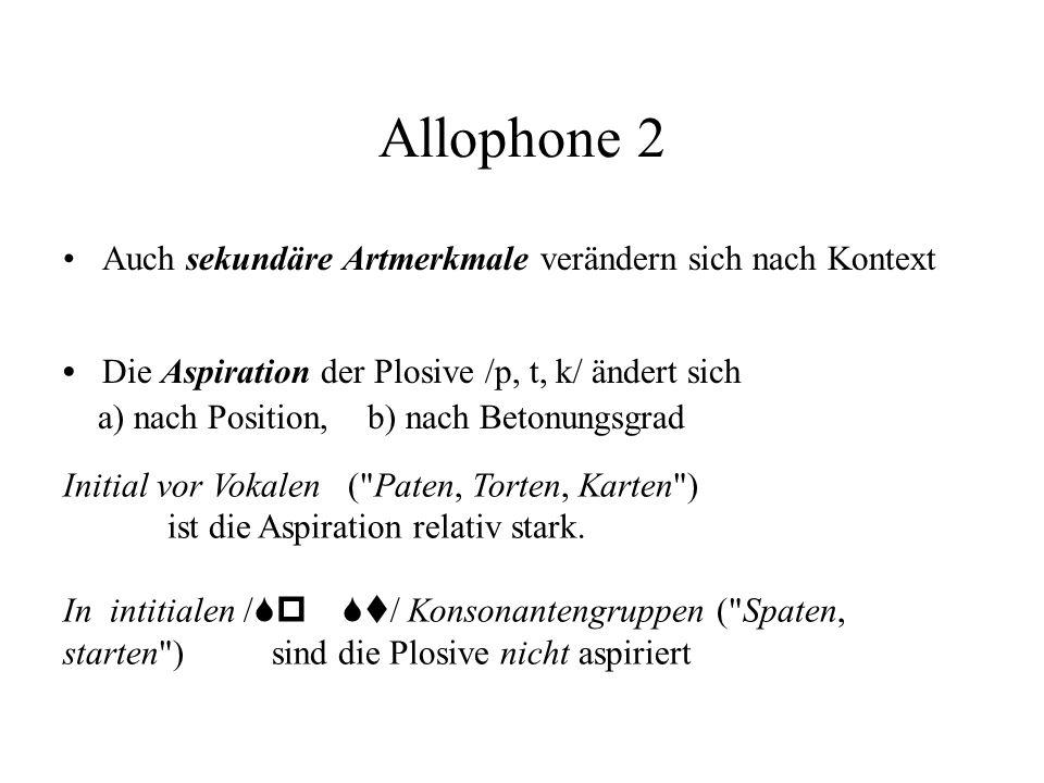 Allophone 2 Die Aspiration der Plosive /p, t, k/ ändert sich a) nach Position, b) nach Betonungsgrad Auch sekundäre Artmerkmale verändern sich nach Ko