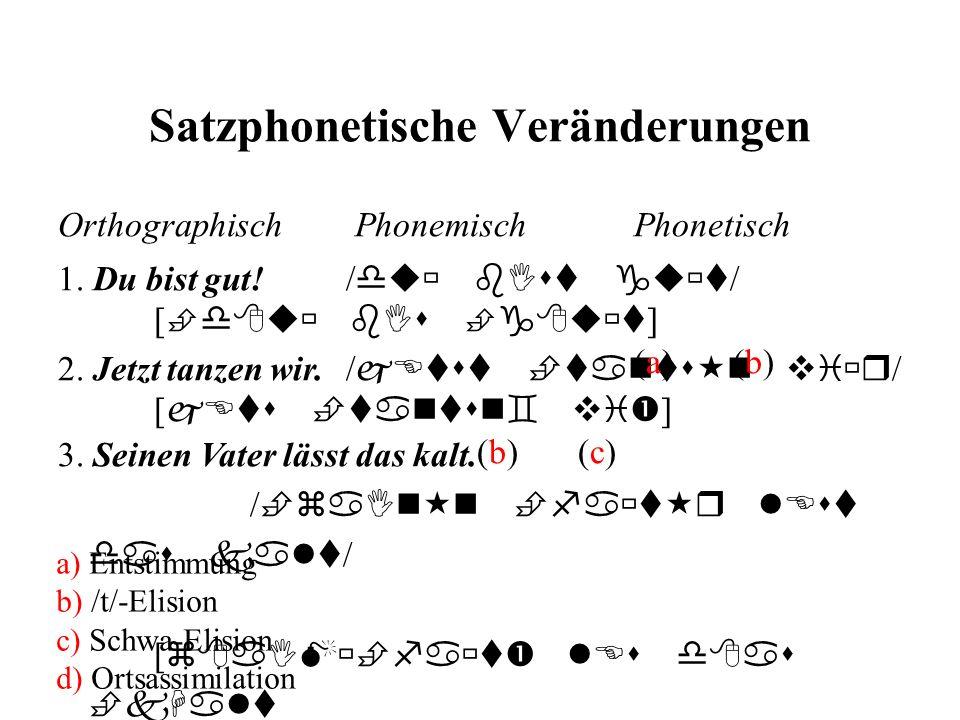 Satzphonetische Veränderungen 2. Jetzt tanzen wir./ jEtst  tants  n vi  r / [ jEts  tantsn  vi  ] (b) (c) Orthographisch Phonemisch Phonetisch 1