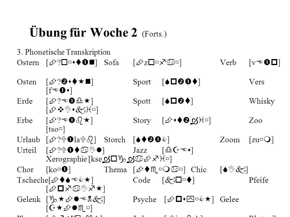 Übung für Woche 2 (Forts.) 3. Phonetische Transkription Ostern[  ? o  st  n ]Sofa[  z o  fa  ]Verb[v E  p ] Osten [  ?  st  n ]Sport[ Sp 