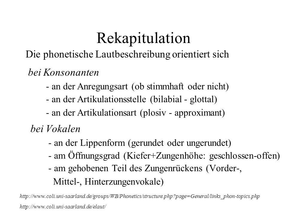 Rekapitulation bei Vokalen - an der Lippenform (gerundet oder ungerundet) - am Öffnungsgrad (Kiefer+Zungenhöhe: geschlossen-offen) - am gehobenen Teil