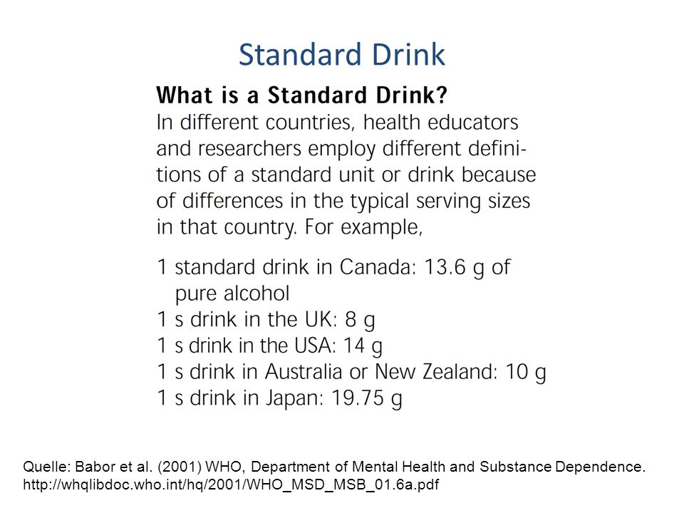 Standard Drink Quelle: Babor et al. (2001) WHO, Department of Mental Health and Substance Dependence. http://whqlibdoc.who.int/hq/2001/WHO_MSD_MSB_01.