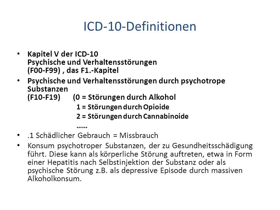 ICD-10-Definitionen Kapitel V der ICD-10 Psychische und Verhaltensstörungen (F00-F99), das F1.-Kapitel Psychische und Verhaltensstörungen durch psycho