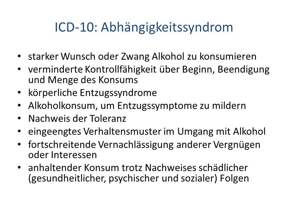 ICD-10: Abhängigkeitssyndrom starker Wunsch oder Zwang Alkohol zu konsumieren verminderte Kontrollfähigkeit über Beginn, Beendigung und Menge des Kons