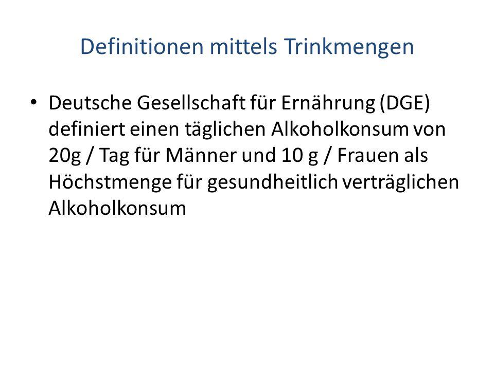 Definitionen mittels Trinkmengen Deutsche Gesellschaft für Ernährung (DGE) definiert einen täglichen Alkoholkonsum von 20g / Tag für Männer und 10 g /