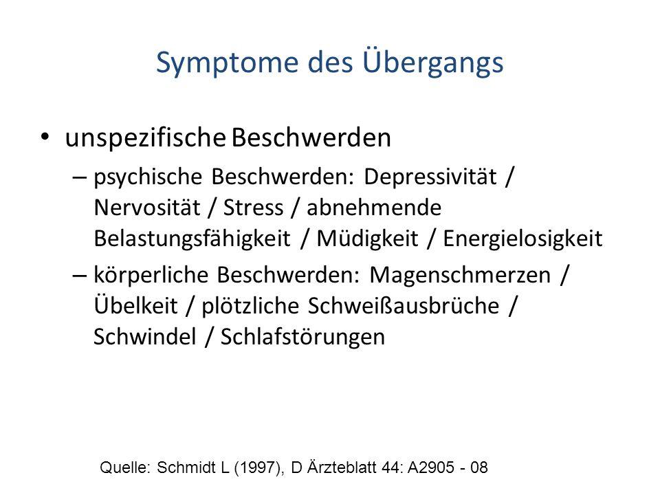 Symptome des Übergangs unspezifische Beschwerden – psychische Beschwerden: Depressivität / Nervosität / Stress / abnehmende Belastungsfähigkeit / Müdi