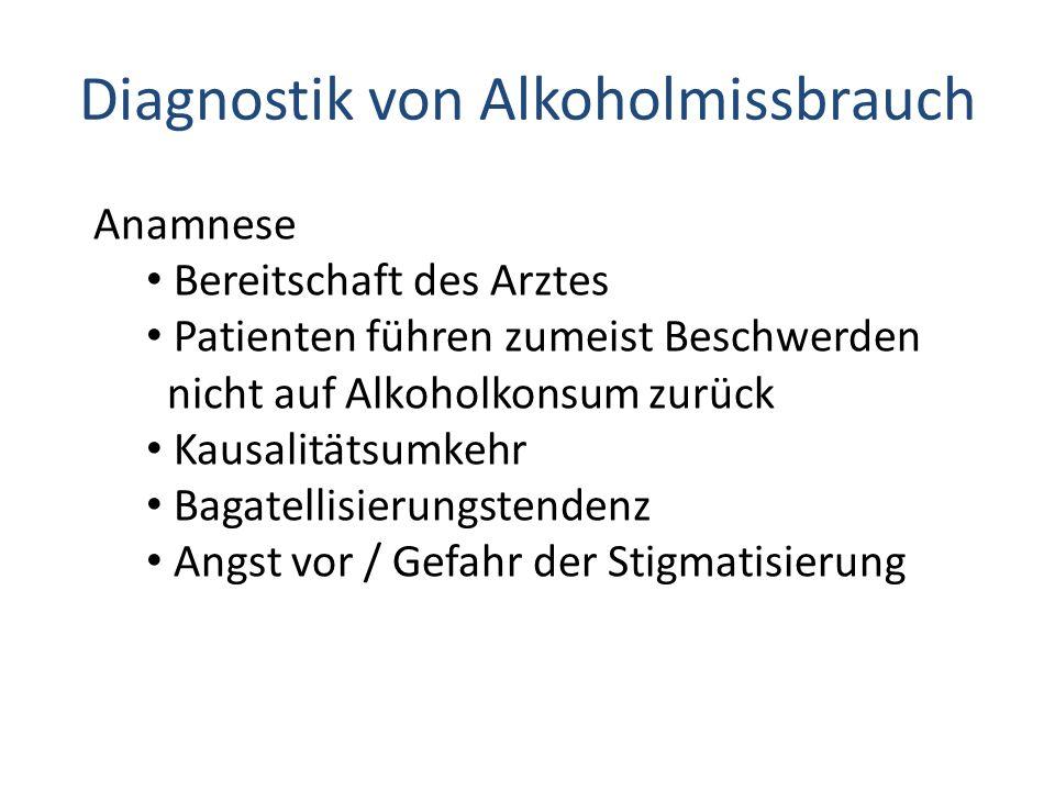 Diagnostik von Alkoholmissbrauch Anamnese Bereitschaft des Arztes Patienten führen zumeist Beschwerden nicht auf Alkoholkonsum zurück Kausalitätsumkeh