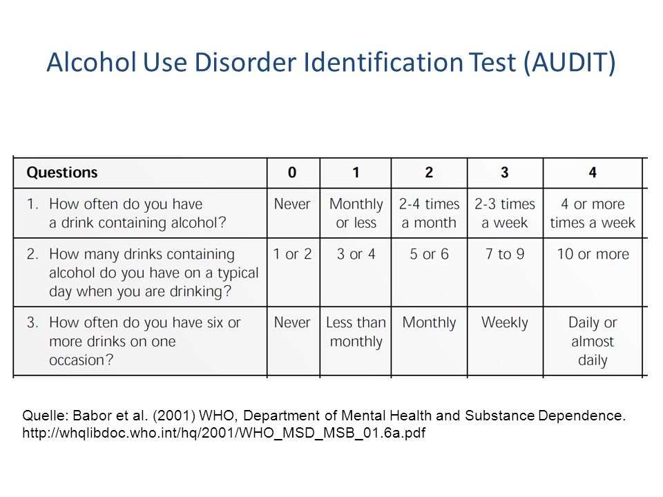 Alcohol Use Disorder Identification Test (AUDIT) Quelle: Babor et al. (2001) WHO, Department of Mental Health and Substance Dependence. http://whqlibd