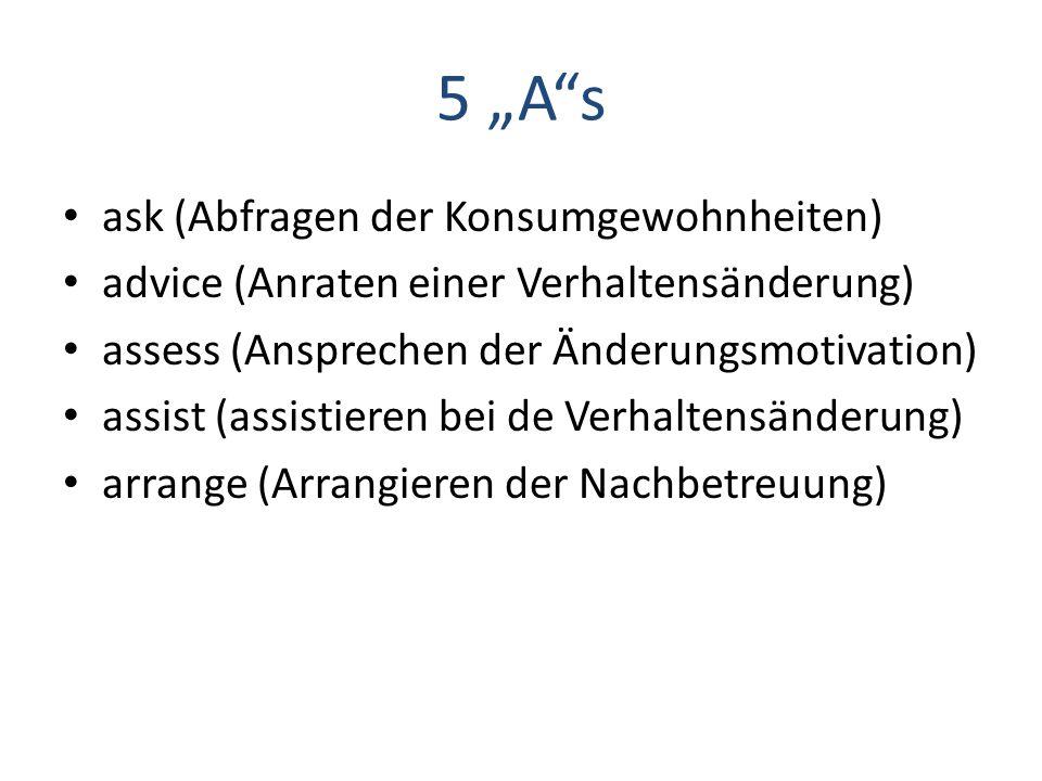 """5 """"A""""s ask (Abfragen der Konsumgewohnheiten) advice (Anraten einer Verhaltensänderung) assess (Ansprechen der Änderungsmotivation) assist (assistieren"""