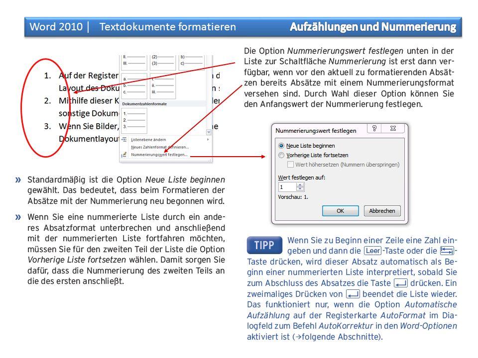 Aufgaben: Aufzählungen und Nummerierung öffne ein leeres Dokument und erzeuge Text mit =rand(15,1) öffne das Dokument «aufzaehlungen.pdf» Formatiere die 15 Absätze mit den Aufzählungszeichen gemäss Datei «aufzaehlungen.pdf» Speichere das Dokument als «aufzaehlungen.docx» öffne ein leeres Dokument und erzeuge Text mit =rand(7,1) öffne das Dokument «nummerierung.pdf» formatiere die 7 Absätze gemäss Datei «nummerierung.pdf» Speichere das Dokument als «nummerierung.docx» öffne ein leeres Dokument und erzeuge Text mit =rand(12,1) öffne das Dokument «nummerierung_unterbrochen.pdf» formatiere die 12 Absätze gemäss Datei «nummerierung_unterbrochen.pdf» Speichere das Dokument als «nummerierung_unterbrochen.docx»