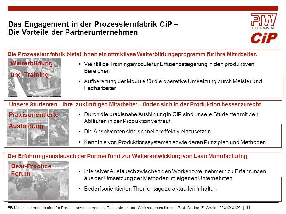 CiP FB Maschinenbau | Institut für Produktionsmanagement, Technologie und Werkzeugmaschinen | Prof. Dr.-Ing. E. Abele | 20XXXXXX1 | 11 Vielfältige Tra