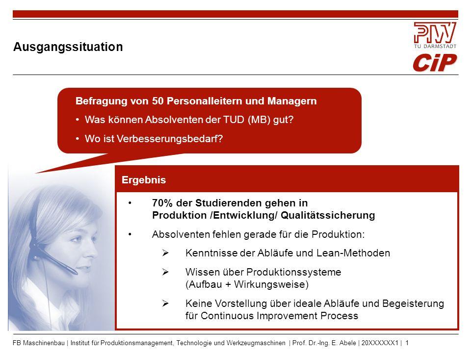 CiP FB Maschinenbau | Institut für Produktionsmanagement, Technologie und Werkzeugmaschinen | Prof. Dr.-Ing. E. Abele | 20XXXXXX1 | 1 Befragung von 50