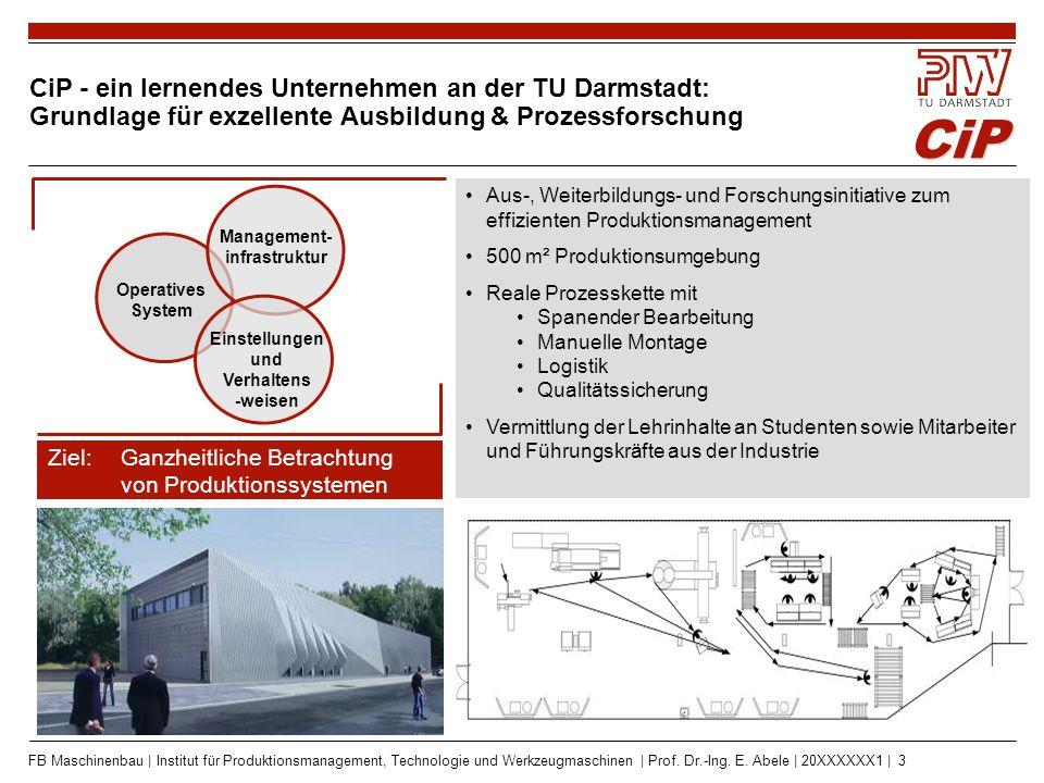CiP FB Maschinenbau | Institut für Produktionsmanagement, Technologie und Werkzeugmaschinen | Prof. Dr.-Ing. E. Abele | 20XXXXXX1 | 3 Ziel: Ganzheitli