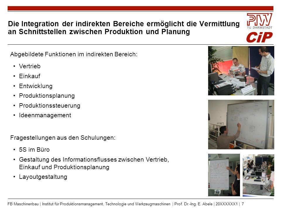 CiP FB Maschinenbau | Institut für Produktionsmanagement, Technologie und Werkzeugmaschinen | Prof. Dr.-Ing. E. Abele | 20XXXXXX1 | 7 Die Integration