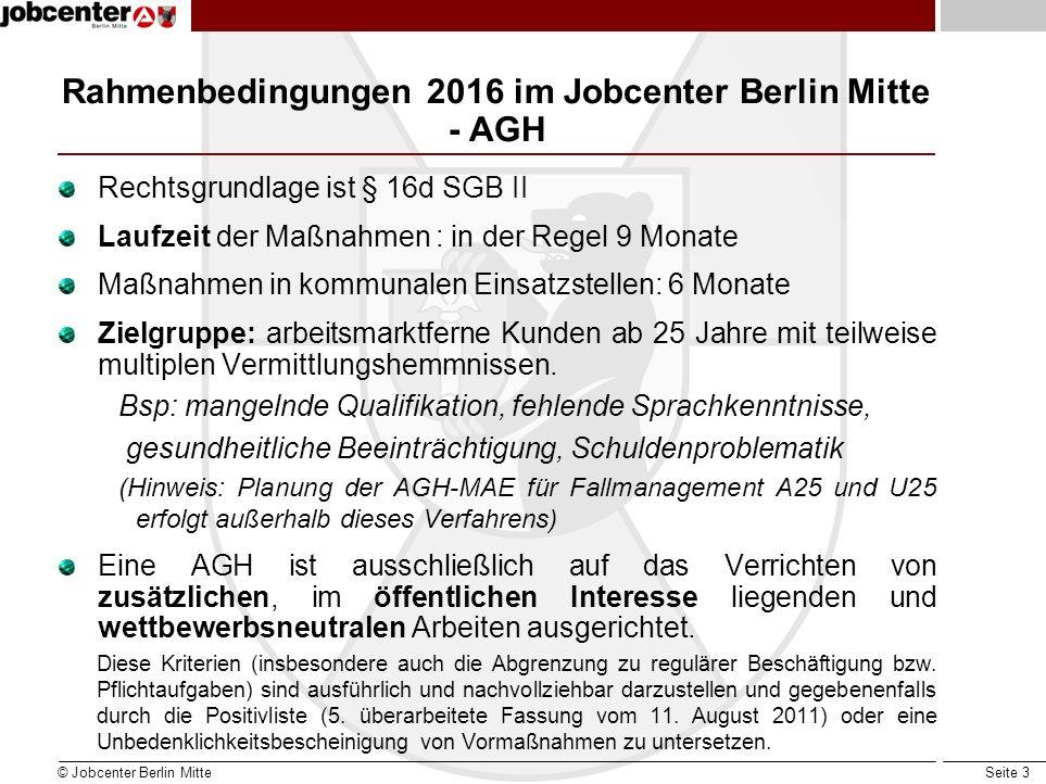Seite 3 Rahmenbedingungen 2016 im Jobcenter Berlin Mitte - AGH Rechtsgrundlage ist § 16d SGB II Laufzeit der Maßnahmen : in der Regel 9 Monate Maßnahm