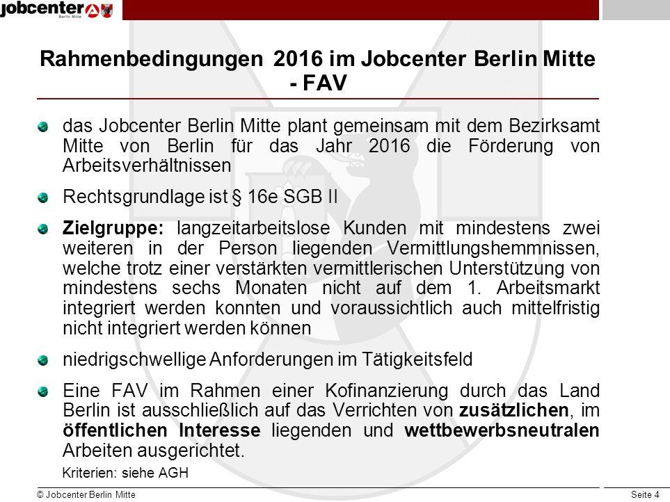 Seite 4 Rahmenbedingungen 2016 im Jobcenter Berlin Mitte - FAV das Jobcenter Berlin Mitte plant gemeinsam mit dem Bezirksamt Mitte von Berlin für das