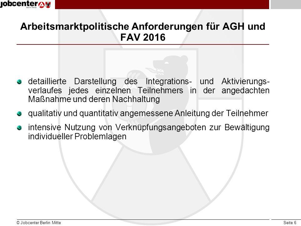 Seite 6 Arbeitsmarktpolitische Anforderungen für AGH und FAV 2016 detaillierte Darstellung des Integrations- und Aktivierungs- verlaufes jedes einzeln