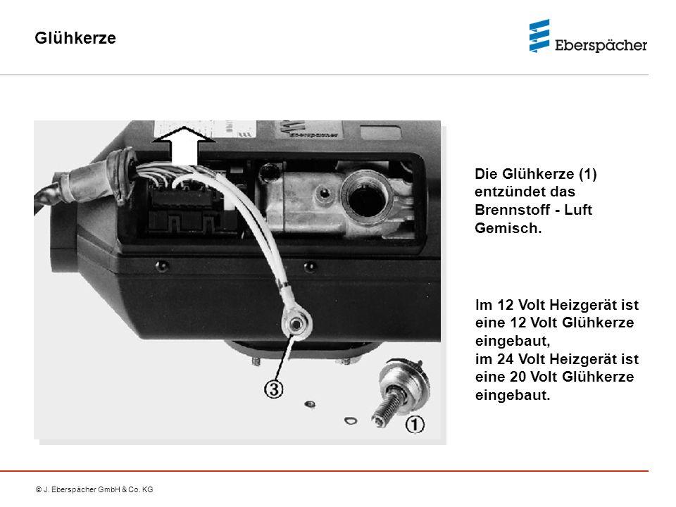 © J. Eberspächer GmbH & Co. KG Glühkerze Im 12 Volt Heizgerät ist eine 12 Volt Glühkerze eingebaut, im 24 Volt Heizgerät ist eine 20 Volt Glühkerze ei