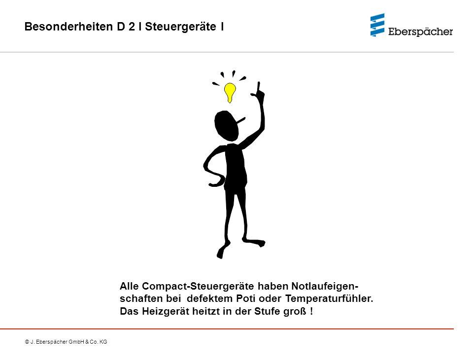 © J. Eberspächer GmbH & Co. KG Besonderheiten D 2 I Steuergeräte I Alle Compact-Steuergeräte haben Notlaufeigen- schaften bei defektem Poti oder Tempe