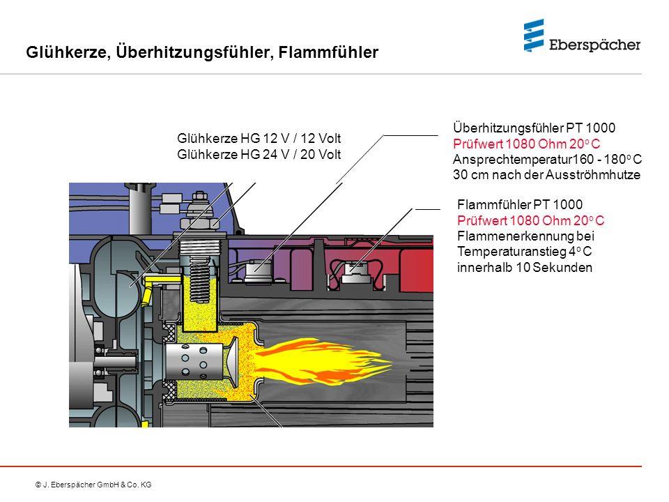 © J. Eberspächer GmbH & Co. KG Glühkerze, Überhitzungsfühler, Flammfühler Flammfühler PT 1000 Prüfwert 1080 Ohm 20 o C Flammenerkennung bei Temperatur