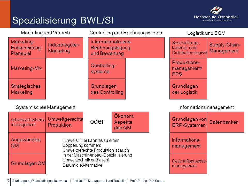 Spezialisierung BWL/SI Marketing- Entscheidung: Planspiel Industriegüter- Marketing Marketing-Mix Strategisches Marketing 3 Studiengang Wirtschaftsingenieurwesen | Institut für Management und Technik | Prof.